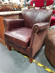Sale 8676 - Lot 1017 - Leather & Fabric Armchair with Studded Trim