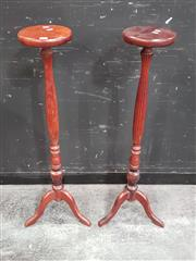 Sale 8700 - Lot 1003 - Pair of Timber Jardiniere Stands
