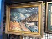 Sale 8789 - Lot 2123 - Artist Unknown - Figure Crossing Road, acrylic on board, framed