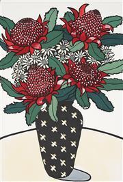 Sale 8867 - Lot 511 - Christine McCarthy (1952 - ) - Waratah and Flannel Flowers 1988 54.5 x 37cm