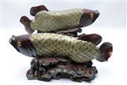 Sale 8869C - Lot 656 - A Pair of Timber Figural Koi Fish (L 52cm)