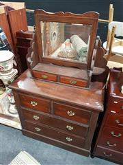 Sale 8979 - Lot 1026 - Timber Mirrored Back Chest of 6 Drawers (H:167 W:107 D:47cm)