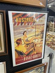 Sale 9028 - Lot 2045 - A QANTAS & B.O.A.C Fly to Australia Advertisement (reproduction issued by TrasnArt) 60 x 43cm