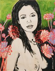 Sale 8657A - Lot 5022 - David Bromley (1960 - ) - Mallory with Flowers 77 x 55cm