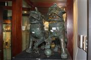 Sale 8340 - Lot 94 - Bronze Pair of Foo Lions