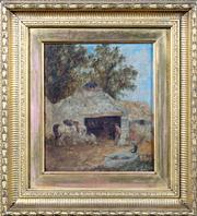 Sale 8379A - Lot 73 - John Henry Dell - The Shoeing forge, Thorpe Chertsey Surrey 1863 17.5 x 15.5cm