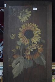 Sale 8592 - Lot 2096 - Artist Unknown Still Life - Sunflowers, oil on panel, 69.5 x 38.5cm, unsigned