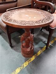 Sale 8700 - Lot 1036 - Carved Elephant Side Table
