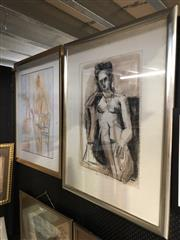 Sale 8759 - Lot 2059 - Val Landa (2 works): Studio Scenes with Female Models pastel, charcoal and wash on paper, signed lower, framed/varoius sizes. -