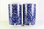 Sale 8869C - Lot 657 - A Pair of Large Chinese Blue and White Ceramic Stick Stands (H 42cm Dia 23cm)