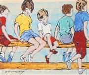 Sale 8896A - Lot 5063 - David Bromley (1964 - ) - Children on Fence 21 x 25cm
