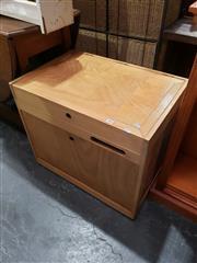 Sale 8988 - Lot 1052 - Timber Lift Top Box on Castors (H:57 W:68 D:45cm)