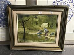 Sale 9113 - Lot 2049 - Clarrie Cox, The Prospectors, oil on board 29cm x 39cm,