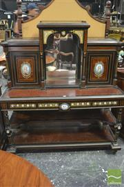 Sale 8335 - Lot 1004 - Fine 19th Century French Ebonised, Amboyna & Porcelain Mounted Bureau de Dame, with raised central mirrored section, flanked by two...