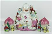 Sale 8422 - Lot 43 - Ceramic Buddha & 2 Peaches