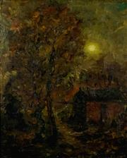 Sale 8538 - Lot 532 - David Davies (1864 - 1939) - Untitled (Moonlight Landscape) 24.5x 20cm (frame size: 47 x 42cm)