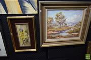 Sale 8497 - Lot 2044 - Zdeny Stodulka (2 works), Afternoon Light Near Tumut; Still Life - Australian Natives, oil paintings, framed, various sizes