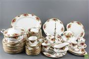 Sale 8594 - Lot 6 - Large Royal Albert Roses Dinner Service For 12