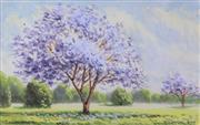 Sale 8582 - Lot 2073 - Herbert Clarke Simpson (1879 - 1966) - Jacaranda 12 x 18cm (image), 35 x 45cm (frame)