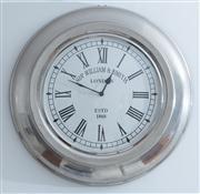 Sale 8595A - Lot 69 - A Sir William & Smith quartz wall clock in a round aluminium frame, D 54cm