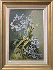 Sale 8655 - Lot 2012 - Artist Unknown (Early C20th) - Still Life, Orchids, oil on canvas, 52 x 35cm unsigned
