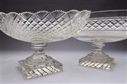 Sale 8689 - Lot 37 - Impressive Large Glass Centre Bowls (2)
