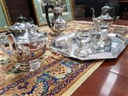 Sale 8714 - Lot 1089 - An Early C20th Gladwyn Ltd Sheffield Silverplated Tea and Coffee Service with Tray