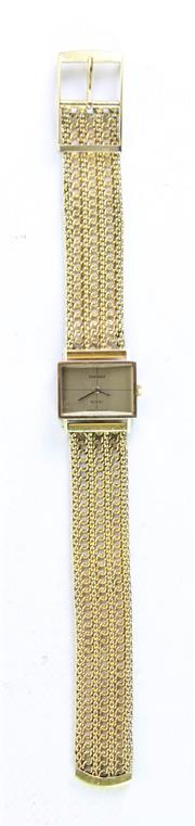 Sale 8985 - Lot 59 - A ladies Tissot rolled gold cocktail watch with mesh band