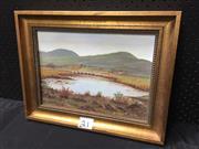 Sale 9050 - Lot 2069 - Una Thornton - Country Scene, oil on canvas board, 24x34cm, frame 34x44cm SLR
