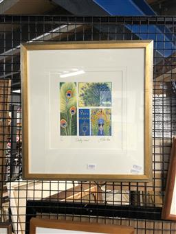 Sale 9147 - Lot 2062 - Yngvar Stroem-Hansen Strutting Around handcoloured woodcut, ed. 1/50, frame: 44 x 41cm, signed lower right