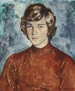 Sale 9195 - Lot 517 - JUDY CASSAB (1920 - 2015) - Portrait, 1976 (Red) 60 x 50 cm (frame: 76 x 66 x 4 cm)