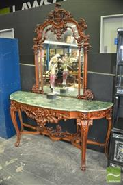 Sale 8337 - Lot 1007 - Ornately Carved Mirrored Back Serpentine Front Hall Table with Marble Top and Stretcher Base