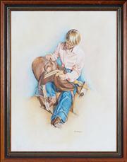 Sale 8441T - Lot 2006 - Kay Nicholson (XX) - Boy with Saddle 55.5 x 41.5cm