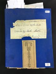 Sale 8539M - Lot 92 - Keith Absons Magic Scrapbook, book no. 16. Compiled Nov. 1982. Includes Dante program Sim-Sala-Bim, provenance for Percy Abso...