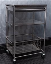 Sale 8761A - Lot 94 - A stainless steel surgical trolley, H x 90cm, W x 54cm D x 41cm