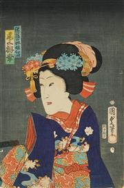 Sale 8838A - Lot 5187 - Kunisada II - (Woman in Blue Kimono), c1865 37 x 24cm