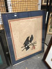 Sale 8856 - Lot 2054 - David Preston Currawongs linocut ed.6/20, 84 x 67cm (frame), signed -