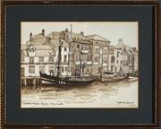 Sale 8941 - Lot 2032 - Daphne Roscoe - Custom House Quay, Weymouth 1977 watercolour, 18 x 24cm, signed and dated -