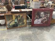 Sale 8995 - Lot 2041 - Paul Gauguin Decorative Print in faux bamboo frame, together with another Decorative of Lovers in shabby chic frame, 95 x 101cm