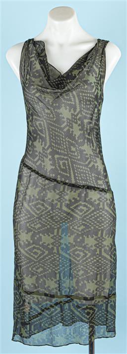 Sale 9091F - Lot 66 - A ZAMBESI APHRODITE DRESS; style Mazebottle green and black viscose, size 8
