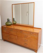 Sale 9066H - Lot 128 - An art deco veneered mirror-back dressing table with four short and six long drawers, original glass top. Height of back 166cm, W 16...
