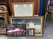 Sale 9072 - Lot 2085 - A Group of assorted artworks including Outback Country Pub by Vince Stevenson, original Nude works on paper, A Large Map of Port Ste...