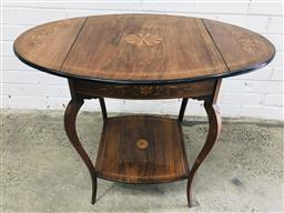 Sale 9097 - Lot 1029 - Late Victorian Rosewood & Marquetry Drop-Leaf Occasional Table, with central wheel inlay & flowers to the leaves, raised on cabriole...