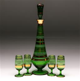 Sale 9114 - Lot 32 - A green glass drinks suite of decanter (H:37cm) and four glasses