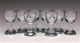 Sale 9114 - Lot 64 - Set of 8 long stem shot glasses - marked to base (H:9cm)
