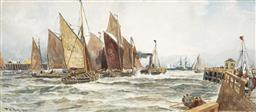 Sale 9141 - Lot 585 - Thomas Bush Hardy (1842 - 1897) Entrance to Calais Harbour and Pier, 1891 watercolour and gouache 25.5 x 58 cm (frame: 51 x 81 x 2 c...