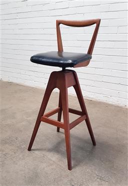 Sale 9134 - Lot 1006 - T.H. Brown Teak bar stool (h:97 x w:38cm)