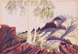 Sale 9170A - Lot 5057 - BENJAMIN LANDARA (1921 - 1985) Central Australian Landscape watercolour (unframed) 29 x 40 cm (sheet) unsigned