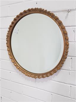 Sale 9154 - Lot 1074 - Carved round gilt framed mirror (d:45cm)