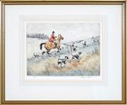 Sale 8441T - Lot 2005 - Henry Wilkinson (1921 - 2011) - Hunter with Dogs 25 x 34cm